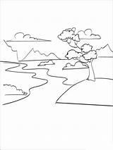 River Coloring Printable Nature Getcolorings sketch template
