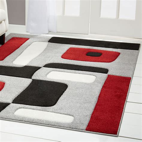 Abstract Black Rug by Black Carved Area Rug Modern Geometric Shapes