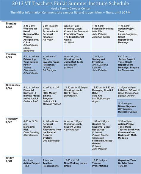 sample agenda financial literacy summer institute