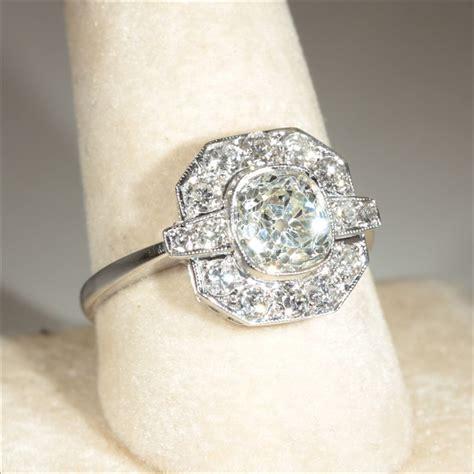 vintage art deco 2 4ctw diamond engagement ring in 18k