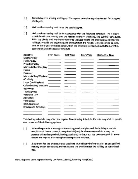 sample parenting plan template florida