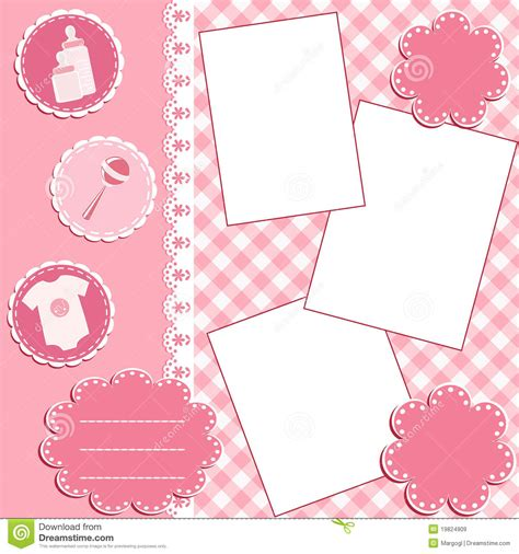 baby album page pink royalty  stock images image