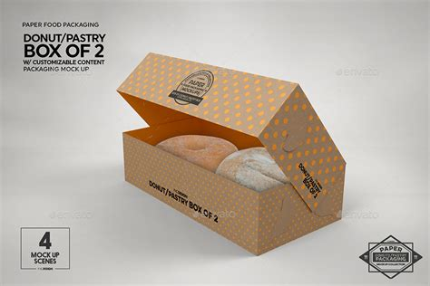Packaging mockups for your brand. Box of 2 Donut / Pastry Box Packaging Mockup by ...