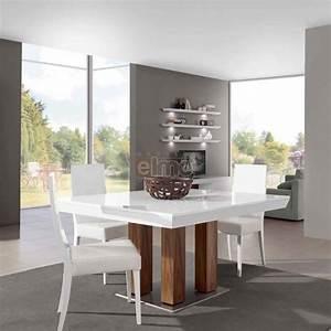 table salle a manger moderne carree extensible laque et With meuble salle À manger avec grande table carree salle a manger