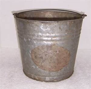 Vintage, Galvanized, Pail, Bucket, With, Handle