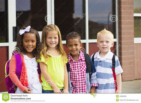 going to school stock photo image of grade 105 | young kids going to school kindergarten age standing front their getting ready go inside 33206236