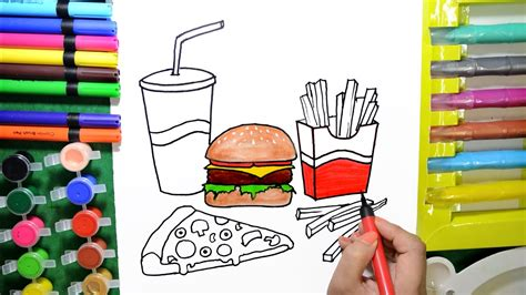 Draw Color Paint Burger, Pizza, French Fries Coloring Page