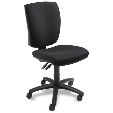 Armless Office Chair With Wheels In Black Decofurnish