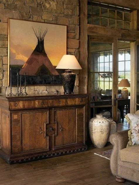 western decor rustic native american country inspired interior homes wood cabin decorating furniture log wyoming living room cowboy walls wall