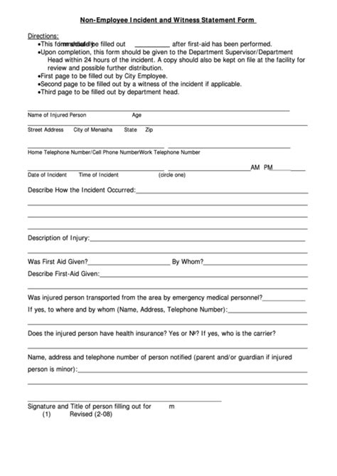 employee incident  witness statement form printable