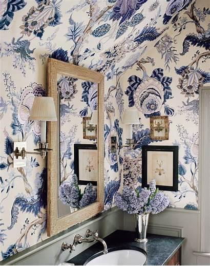 Schumacher Decor Bathroom Hyacinth Floral Indian Wallpapers