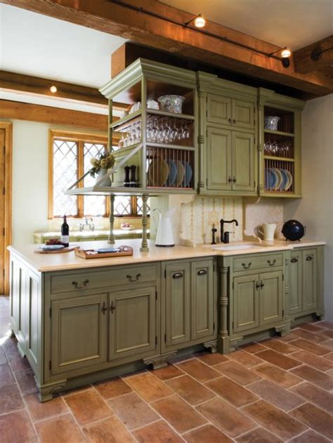 green cabinets houzz