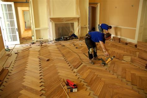 Herringbone Wood Floor Installation Parquet Wood Flooring