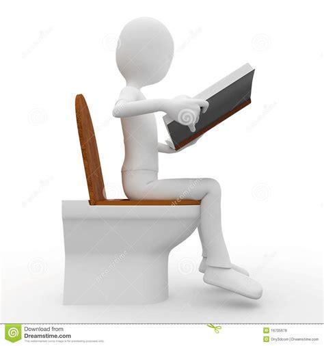 le relev 233 de l homme 3d sur la toilette photos libres de droits image 16705678