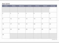 Calendario abril 2018 para imprimir iCalendarionet