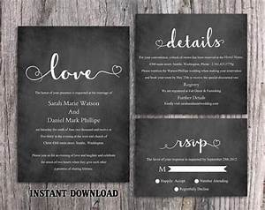 diy wedding invitation template set editable word file With chalkboard wedding sign template