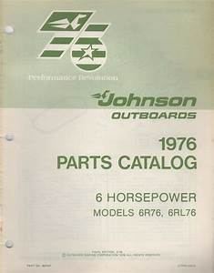 1976 Johnson Outboard 6 Hp  6r76  6rl76 Parts Manual