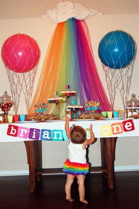 Rainbow Hot Air Balloon Themed Birthday Party Georgias