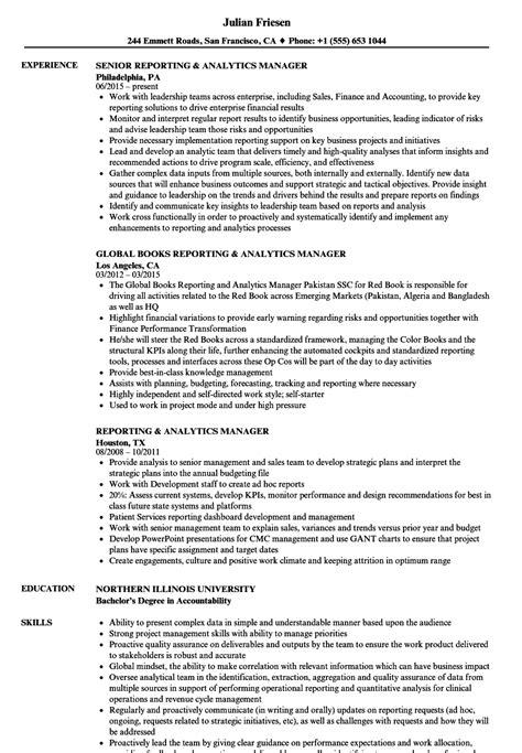 Reporting & Analytics Manager Resume Samples  Velvet Jobs