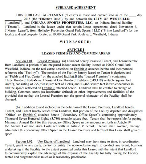 sublease agreement templates  ms word apple