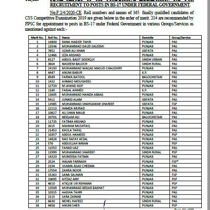 css  final result announced  fpsc