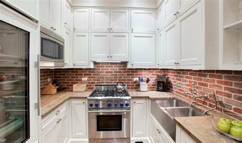 brick backsplash in the kitchen presented with