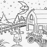 Coloring Night Pages Scenery Printable Drawing Moon Cartoon Pumpkin Fall Sky Farm Harvest Worksheets Sun Background Star Witch Children Sketch sketch template