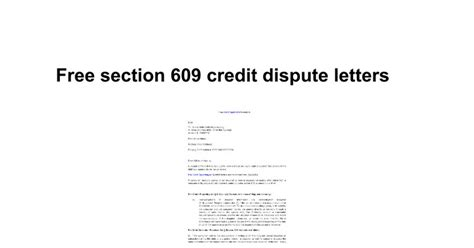 Free Section 609 Credit Dispute Letter Template Free Section 609 Credit Dispute Letters Docs