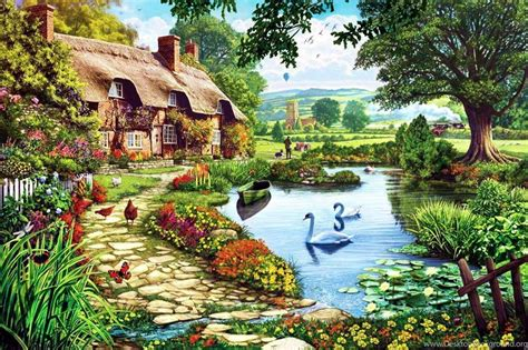 Cottage Style Wallpaper by Country Cottage Wallpaper Desktop Background