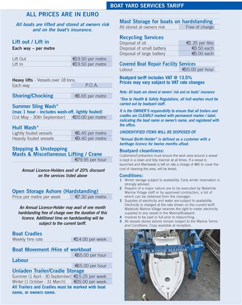 Boatyard Prices by Malahide Marina Boatyard