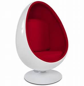 Fauteuil En Forme D Oeuf : fauteuil uf cocoon blanc et rouge fauteuil egg design ~ Teatrodelosmanantiales.com Idées de Décoration