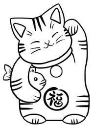 Image result for maneki neko tattoo | Cat coloring page