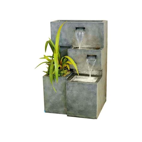 strobe light water fountain water feature and planter led 78 cm