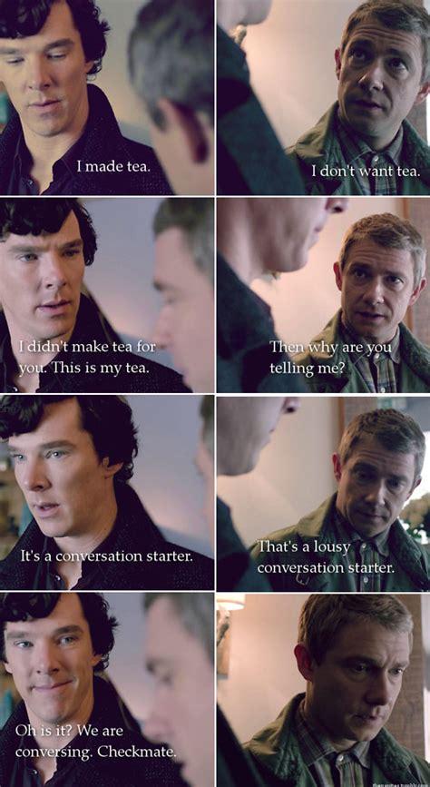 sherlock holmes bbc funny meme cumberbatch memes benedict conversation fandom john watson guy starter lol freeman martin theory quotes well