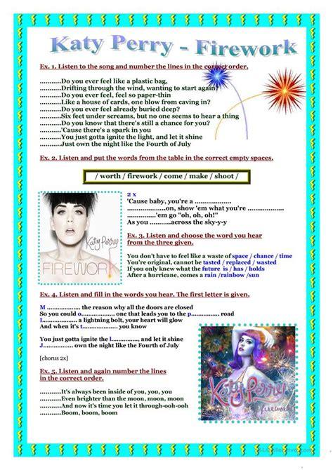 song worksheet katy perry firework worksheet free esl