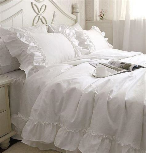 white ruffle comforter white falbala ruffle lace bedding sets princess