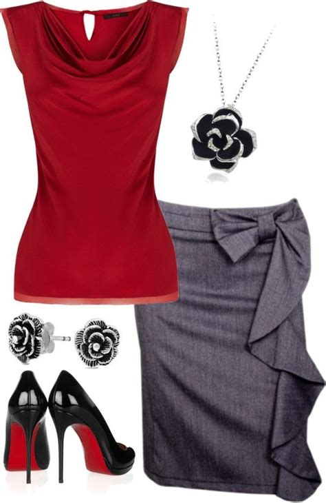 Outfit - I like the red top maybe in a more casual fabric. | Moda ejecutiva | Pinterest | Stil ...