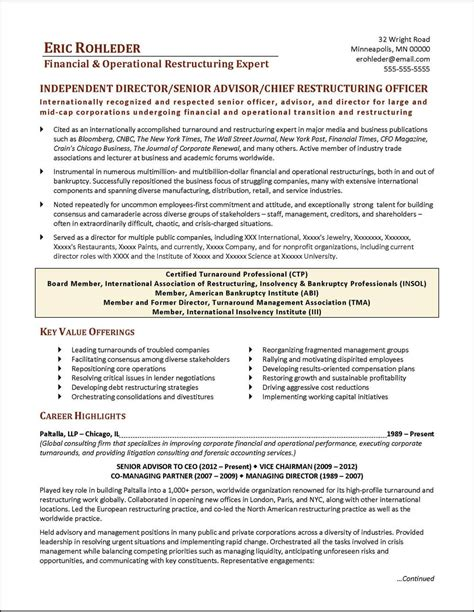 chief restructuring officer executive resume page 1