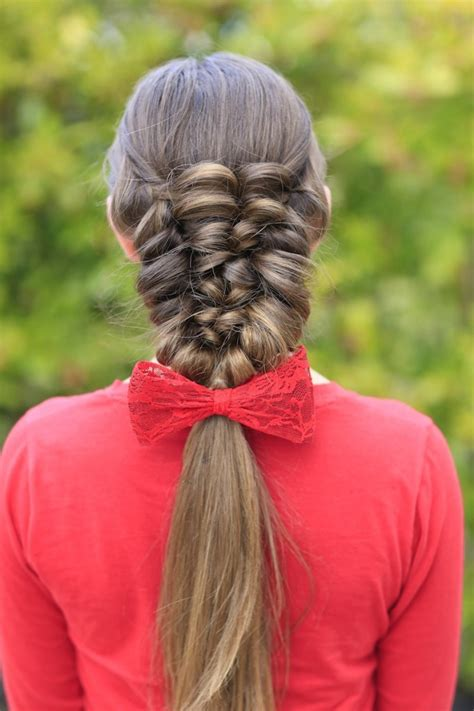 how to create a banded puff braid cute girls hairstyles
