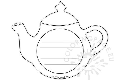 teapot writing paper template coloring page