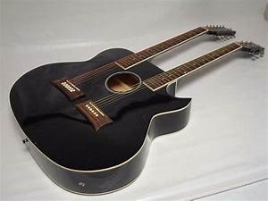 New 6  12 String Acoustic Electric Double Neck Guitar  Cutaway  Black   W Gig Bag