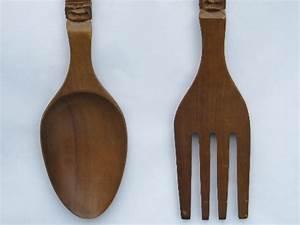 Giant fork & spoon, retro tiki vintage carved wood kitchen ...