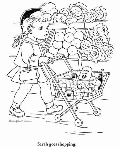 Coloring Shopping Books Sheets Grocery Desenhos Colorir