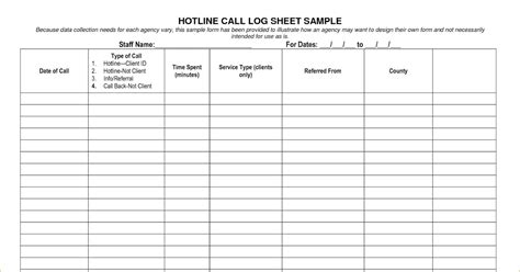 printable call log templates  excel excel template