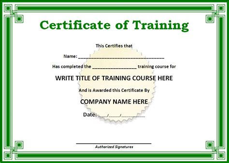 training certificate template  word templates