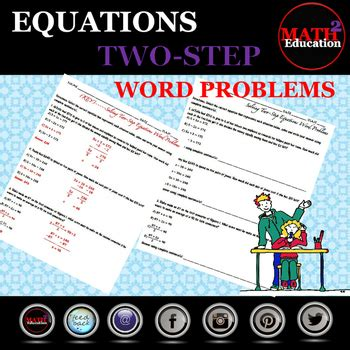 solving  step equations word problems  math square tpt