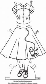 1950s Coloring Poodle Skirts 1950 Paper Dolls Template sketch template