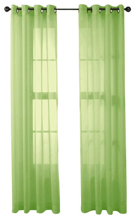 hlc me 2 sheer window curtain grommet panels lime