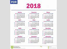Calendário Brasileiro Português 2018 Ilustração do Vetor