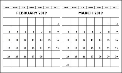 february march  calendar printable template